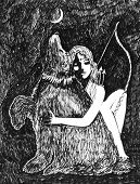 stock photo of artemis  - Artemis and Bear ink sketch fantasy in black and white - JPG
