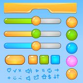 Game UI elements.Colorful buttons and icons
