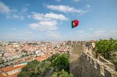 panoramic view of Lisbon, from Sao Jorge Castle in Portugal, Europe