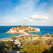 Sveti Stefan Island in Montenegro at Adriatic Sea