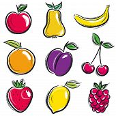 image of plum fruit  - set of fruits fruit applepear banana orange plum vector illustration - JPG