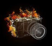 Wire frame SLR camera in the colored smoke