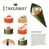 Great set of sushi variations over white background