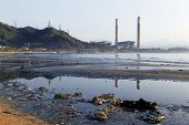 electric power plant and pollution beach
