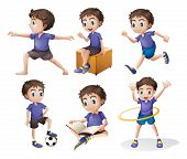 picture of spherical  - Illustration of the different activities of a young boy on a white background - JPG