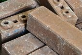 stock photo of cinder block  - Brown concrete construction blocks prepare for construction - JPG