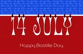 stock photo of pegging  - Bastille Day 14 July letters bunting hanging from pegs on a line against a red white and blue background for greeting card or wallpaper - JPG