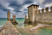 Medieval walls in town of Sirmione on Lake Garda in northern Italy.