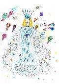 Children Drawing - Queen And Parachutes With Gifts