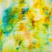 Batik - Abstract Yellow And Green Spots On Silk