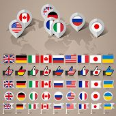 G8 flags with map big set