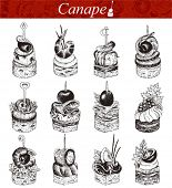 Canape vector collection, hand-drawn illustration.