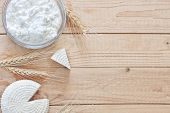stock photo of oats  - Tzfat cheese and cottage cheese with wheat grains - JPG