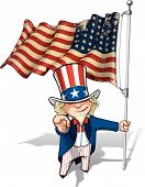picture of uncle  - Vector Cartoon Illustration of Uncle Sam holding a 48 star American flag pointing  - JPG