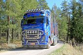 Volvo FH16 750 Timber Truck On Rural Road