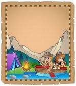 Parchment with two scouts in boat - eps10 vector illustration.