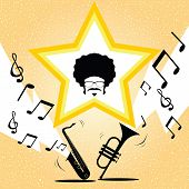afro hairstyle man on saxophone and trumpet background