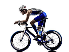 picture of biker  - man triathlon iron man athlete bikers cyclists bicycling biking  in silhouettes on white background - JPG