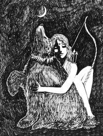 foto of artemis  - Artemis and Bear ink sketch fantasy in black and white - JPG