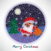 Christmas Card With Santa Claus Style Blurred Round