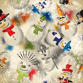 Seamless Pattern With Snowmen With Blurred Backdrop In Vintage Style