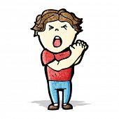 cartoon man with injured hand