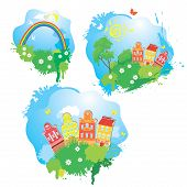 Vector Set Of Cartoons Fairytale Drawing Images - Houses, Trees, Rainbow Isolated On White Backgroun