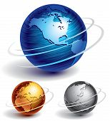 foto of globe  - Three brushed metal globes - JPG