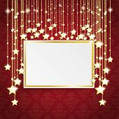 Red Ornaments Golden Frame Stars