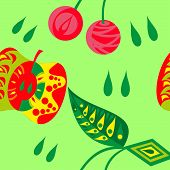 Abstract vector seamless pattern of cherry and apple