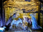 KRAKOW, POLAND - DECEMBER 26 2012: Traditional Christmas crib figures representing Holy Family and animals