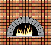 Vector  Brick Oven With Empty Hearth