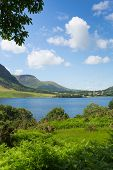 Crummock Water Lake District North West England UK between Buttermere and Loweswater on summer day