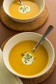 Fresh Pumpkin Soup With Cream Garnish