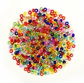 Pile Of Colorful Glass Beads Isolated On White Background