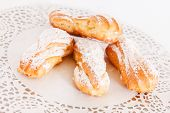 stock photo of eclairs  - eclair with cottage cheese - JPG