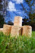 wooden pellets on green grass background