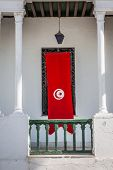 Detail Of Medina In Sousse, Tunisia With Flag