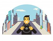 Driver with car wheel ride driving city flat vector illustration