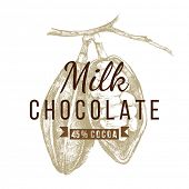milk  chocolate logo template with hand drawn cocoa beans