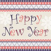 Happy New Year card with African ornament design.