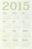 Calendar 2015 on leaf veins texture. Vector