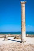 Ancient Ruins At Carthage, Tunisia With The Mediterranean Sea In The Background