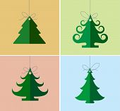 Christmas icons, elements and illustrations. Christmas Greeting Card. Christmas tree.