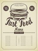 Menu for fast food