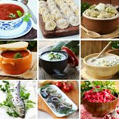 collage menu of Russian and Ukrainian food (dumplings, borsch, okroshka, herring)