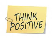 A sticky paper with the message think positive