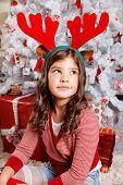 Sweet Little Girl At Christmas