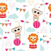 Seamless kids geometric circus animals monkey and lion illustration vivid background pattern in vector