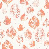 Seamless Pattern With Stamped Autumn Leaves